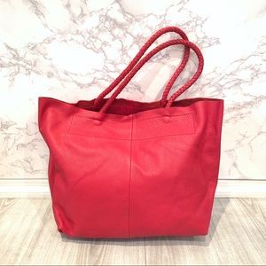 Maje Sun Pebbled Leather Tote in Framboise